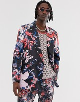 Asos EDITION oversized double breasted suit jacket with dark floral print
