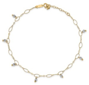 Macy's Reflective Beaded (4 mm) Anklet in 14k Yellow and White Gold