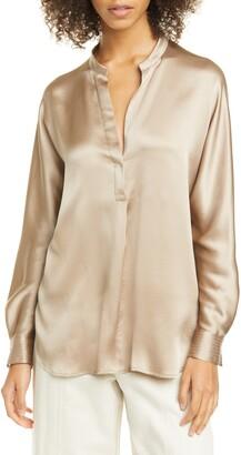 Vince Band Collar Long Sleeve Silk Blouse