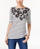 Karen Scott Floral-Print Striped Top, Only at Macy's