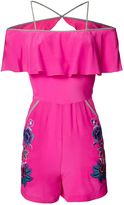 Matthew Williamson Pink Floral Embroidered Ruffle Silk Playsuit