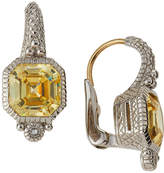Judith Ripka Estate Asscher-Cut CZ Drop Earrings, Yellow