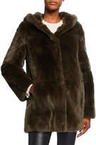 Yves Solomon Reversible Rabbit-Fur Hooded Coat