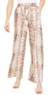 Bar III Snakeskin-Print Wide-Leg Pants, Created for Macy's