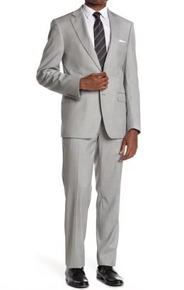 Calvin Klein Light Grey Solid Two Button Notch Lapel Suit