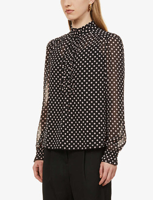 Me And Em Polka dot-pattern high-neck recycled-polyester blouse
