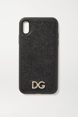 Dolce & Gabbana Crystal-embellished Textured-leather Iphone Xr Case - Black