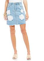 Blu Pepper Destructed Denim Frayed Hem Skirt