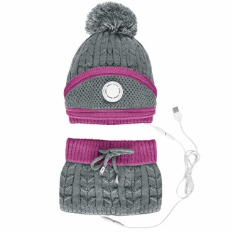 B Commerce B-commerce Women USB Heating Hat Neck Scarf and Face Mouth Cover Set Winter Warm Wool Knitted Fleece Beanie Hat Bobble Pom Pom Hats Scarf Neck Warmer (Gray)