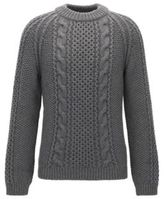 HUGO BOSS Cashmere Wool Cable Knit Sweater Marko AM M Grey