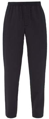 Raey Elasticated-waist Seersucker Stretch-wool Trousers - Mens - Navy