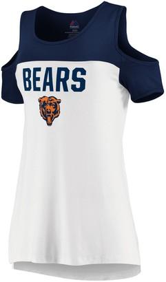 Majestic Women's White/Navy Chicago Bears Pure Dedication Open Shoulder T-Shirt