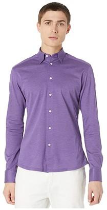 Eton Casual Fit Pique Polo Long Sleeve Shirt (Purple) Men's Clothing