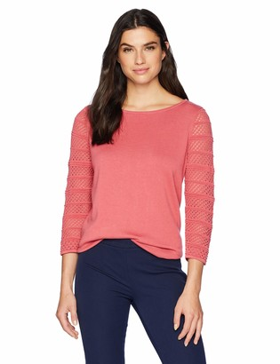 Chaus Women's 3/4 Sleeve Pointelle Pullover Sweater