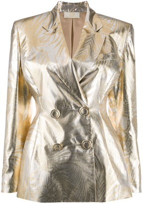 Sara Battaglia Metallic Double-Breasted Blazer