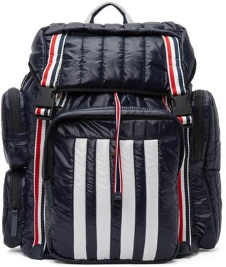 Thom Browne Navy Tricolor Webbing 4-Bar Backpack