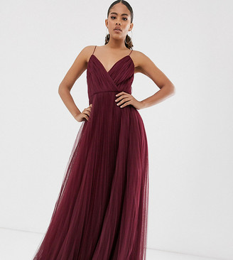 Asos Tall ASOS DESIGN Tall cami pleated tulle maxi dress