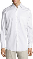 Neiman Marcus Classic-Fit Regular-Finish Jacquard Sport Shirt, White