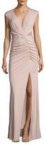 ABS by Allen Schwartz Deep V-Neck Mesh Paneled Gown