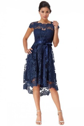 Goddiva Scalloped Edge High Low Dress - Navy