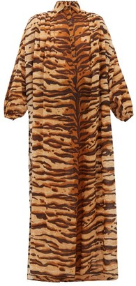 Mes Demoiselles Bangla Tiger-print Cotton Shirt Dress - Brown Print