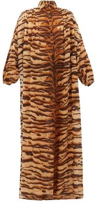 Mes Demoiselles Bangla Tiger-print Cotton Shirtdress - Womens - Brown Print