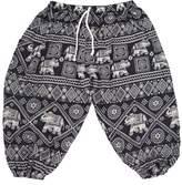 Lofbaz Boy's Drawstring Elephants Boho Harem Pants 3/4Y