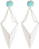 Rebecca Minkoff Tulum Rhodium-Tone Chain Drop Earrings, Turquoise