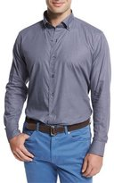 Peter Millar Micro-Check Long-Sleeve Sport Shirt, Blue