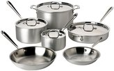 All-Clad 700362 Professional Master Chef 2 MC2 Stainless Steel Tri-Ply Bonded Cookware Set, 10-Piece, Silver