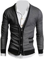 SODIAL(R) Mens Deep V Neck Long Sleeve Cardigan Sweaters Gray - Size M