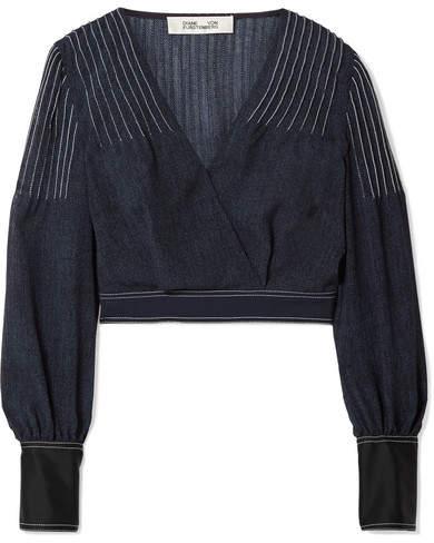 Diane von Furstenberg Wrap-effect Crepe And Satin-trimmed Voile Blouse - Navy
