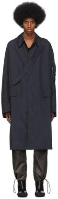 Random Identities Navy Satin Overcoat