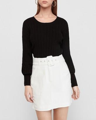 Express High Waisted Belted Linen-Blend Mini Skirt