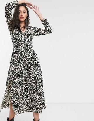 Asos DESIGN midi shirt dress with buckle belt in leopard print
