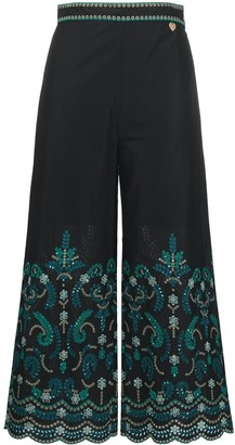 Twin-Set Floral Embroidered Cropped Trousers