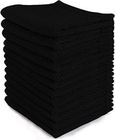 Ringspun Luxury Cotton Washcloths (12-Pack, Black, 13x13 inches) - Easy Care, Cotton for Maximum Softness and Absorbency - by Utopia Towels