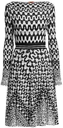 Missoni Long Sleeve Knit Fit-&-Flare Dress