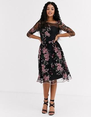 Chi Chi London mesh embroidered midi dress in multi