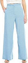 GB Chambray Braided-Waist Wide Leg Pants