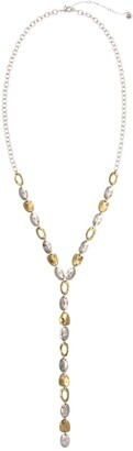 The Sak Two-Tone Hammered Disc Y-Necklace