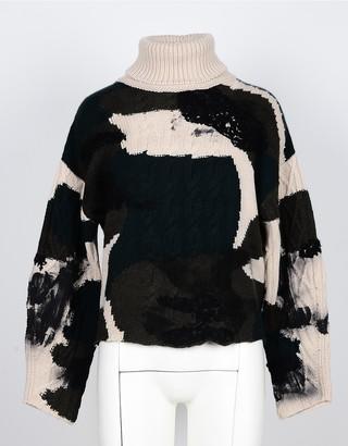 Lamberto Losani Tie&Dye Beige/Green Pure Cashmere Women's Turtleneck Sweater