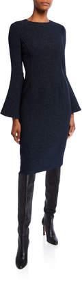 Oscar de la Renta Shimmered Crepe Bell-Sleeve Day Dress