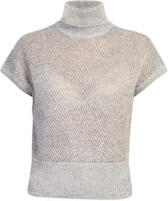 Brunello Cucinelli Short Sleeved Turtleneck Open Knit Pullover
