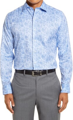 David Donahue Trim Fit Floral Bird's Eye Dress Shirt