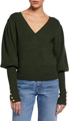 Veronica Beard Esme Bishop-Sleeve Wool Sweater