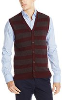 Haggar Men's Jacquard Horizontal Stripe Button-Front Vest