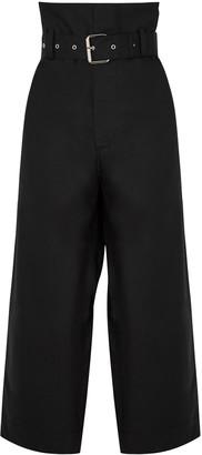 Plan C Black Wide-leg Cropped Cotton Trousers