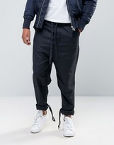 Asos Straight Pants With Fabric Tie Waistband In Navy
