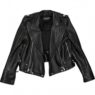 Balmain Black Leather Leather Jacket for Women